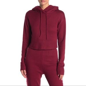 Kendall + Kylie Cropped Knit Hoodie W/ Fuzzy Hood